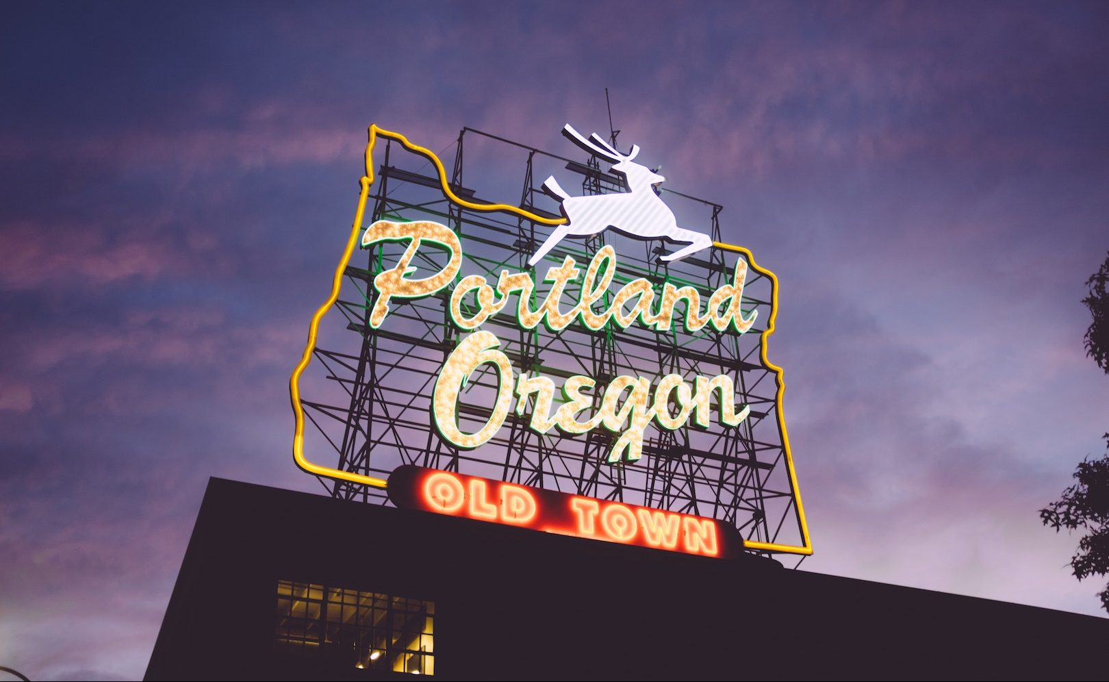 Portland Oregon Sign Old Town Downtown White Stag